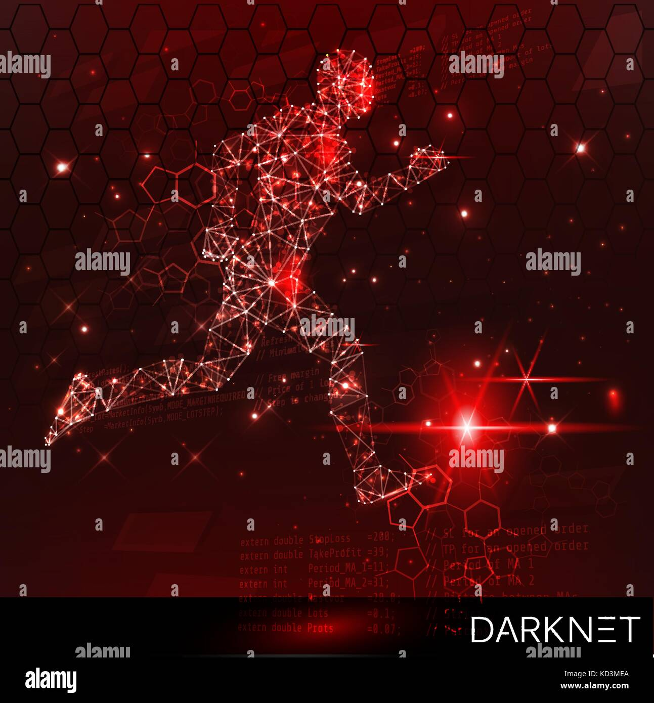Hacker activity banner. Technological space with an evader. Red, warning background - Stock Image