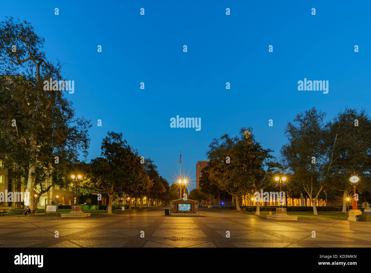Los Angeles, OCT 8: Night view of the beautiful Alumni Park on OCT 8, 2017 at University of Southern California, - Stock Image