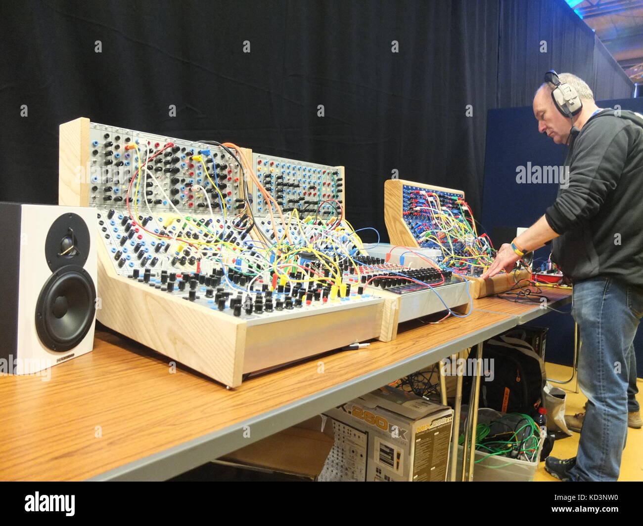 Modular analogue synthesizers on display at Synthfest UK, The Octagon Centre, University of Sheffield (part of Sensoria Stock Photo