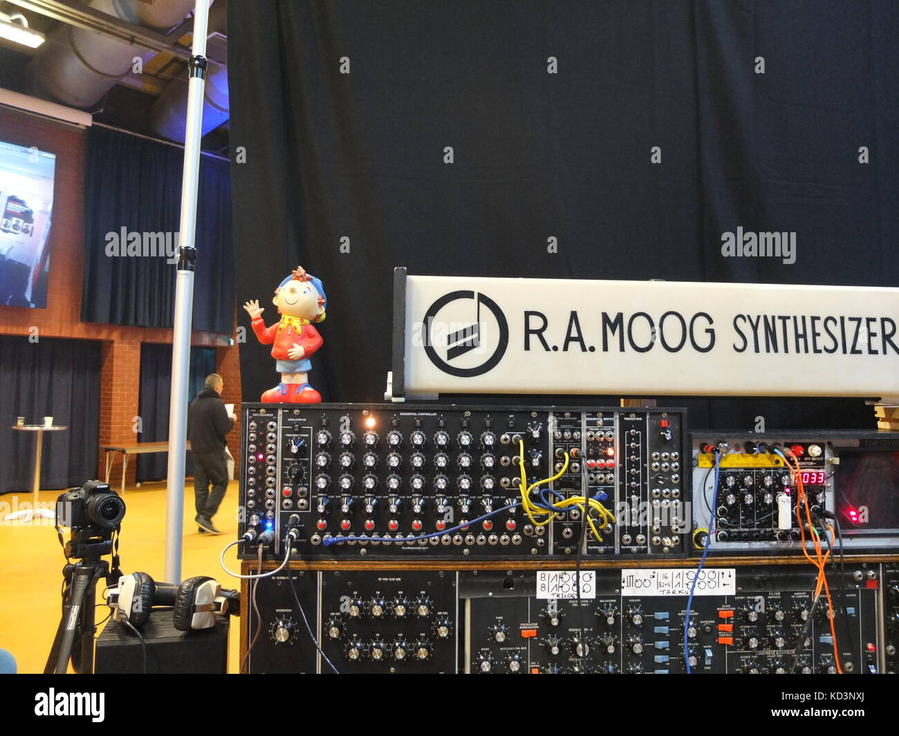 A Moog modular synthesizer (and Noddy) on display at Synthfest,  The Octagon Centre, University of Sheffield (part - Stock Image