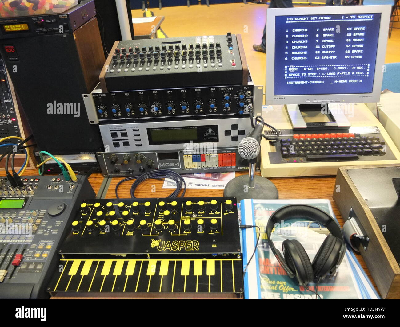 Various synthesizer and electronic music gear on display at Synthfest UK, Octagon Centre, University of Sheffield - Stock Image
