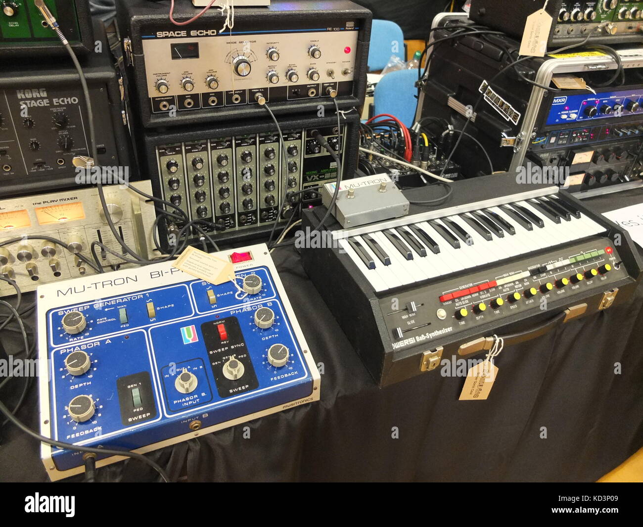 Analogue gear including a Mu-tron Bi-Phase, Wersi bass synth and echo units on display at Synthfest UK, Octagon - Stock Image