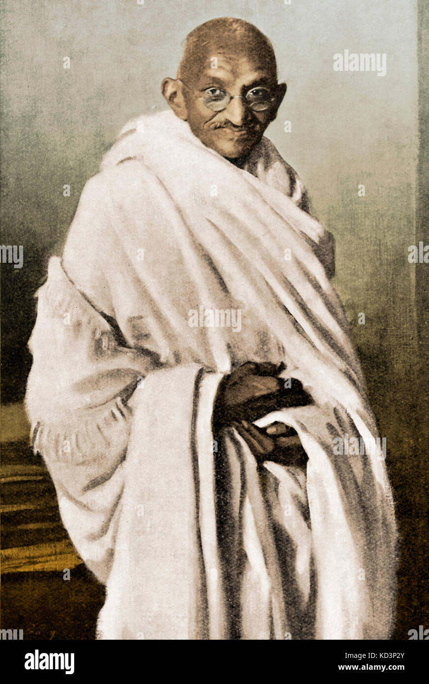 Mahatma Mohandas Karamchand Gandhi - the Indian religious ruler and politician. 2 October 1869 – 30 January 1948. - Stock Image