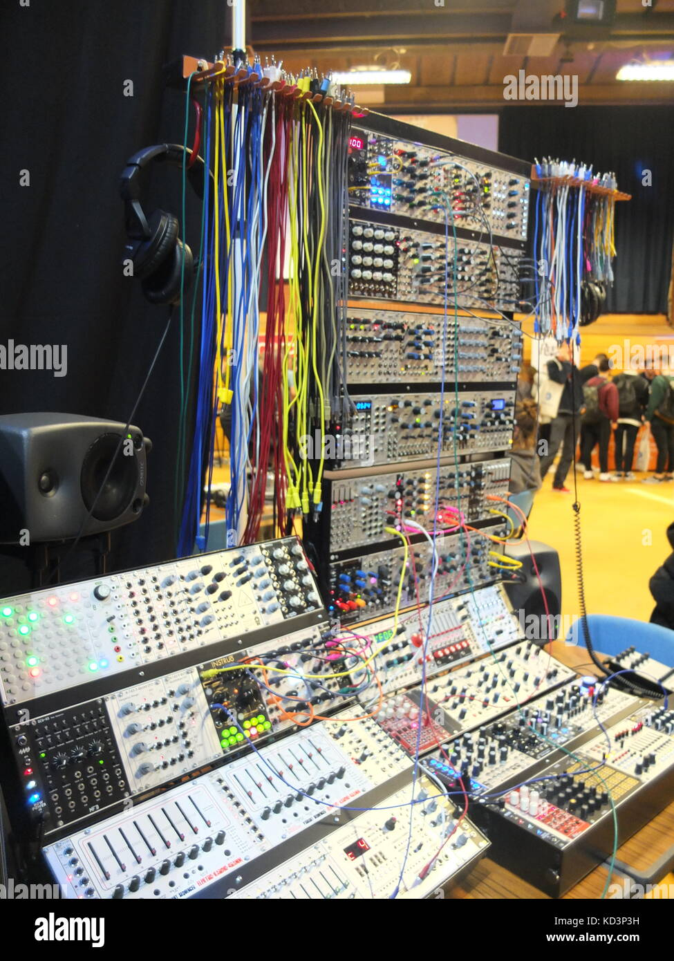 Modular synthesizers on display at Synthfest UK, The Octagon Centre, University of Sheffield (part of Sensoria Festival) - Stock Image