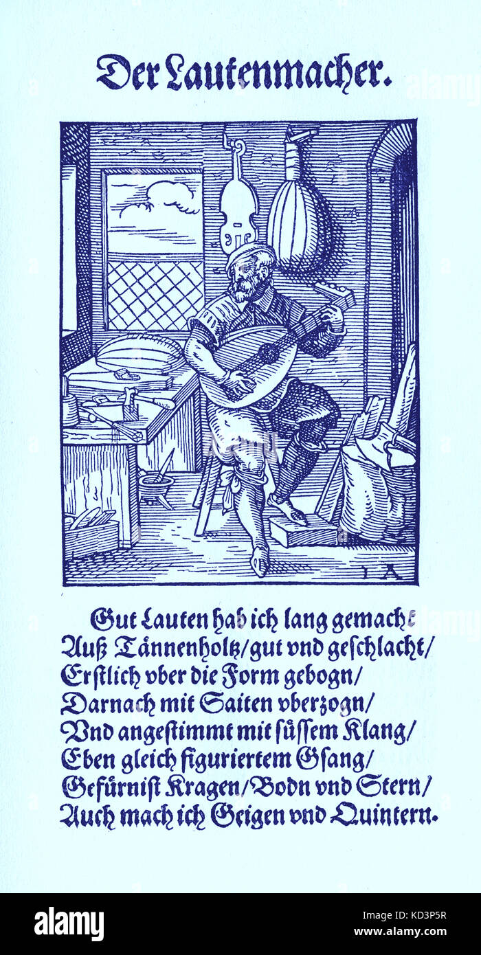 Lute maker (der Lautenmacher), from the Book of Trades / Das Standebuch (Panoplia omnium illiberalium mechanicarum...), Collection of woodcuts by Jost Amman (13 June 1539 -17 March 1591), 1568 with accompanying rhyme by Hans Sachs (5 November 1494 - 19 January 1576) Stock Photo