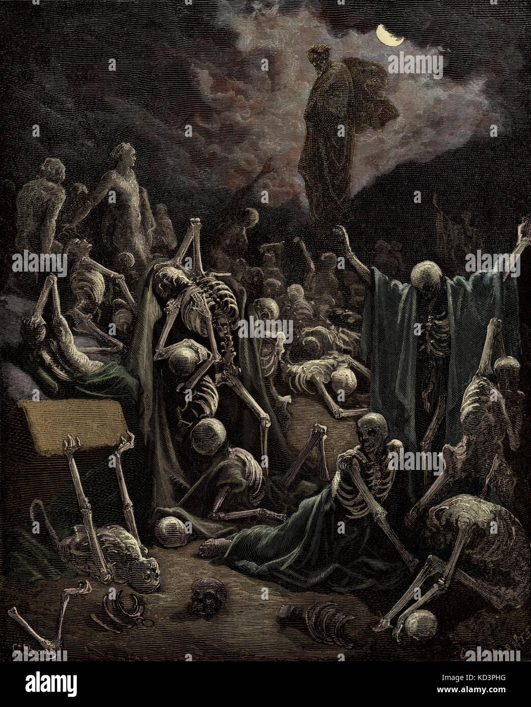 The prophet Ezekiel's vision of the Valley of Dry Bones (Ezekiel chapter XXXVII), illustration by Gustave Doré (1832 Stock Photo