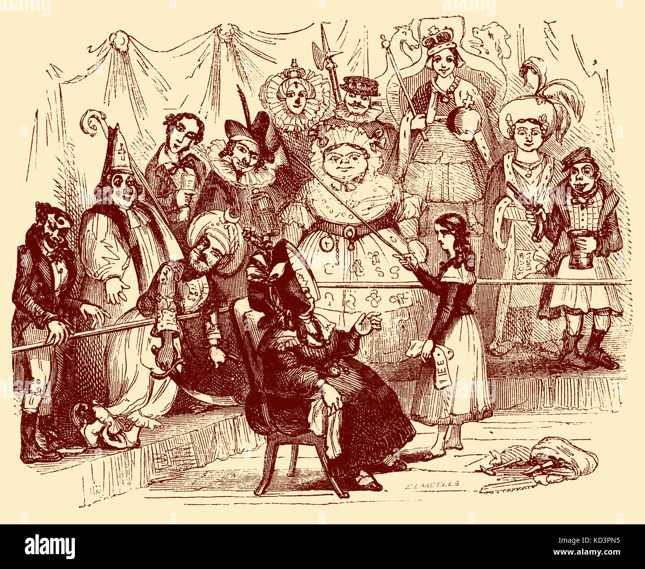 Charles Dickens 's 'The Old Curiosity Shop'.  First published 1841. Description of scene: Mrs Jarley - Stock Image