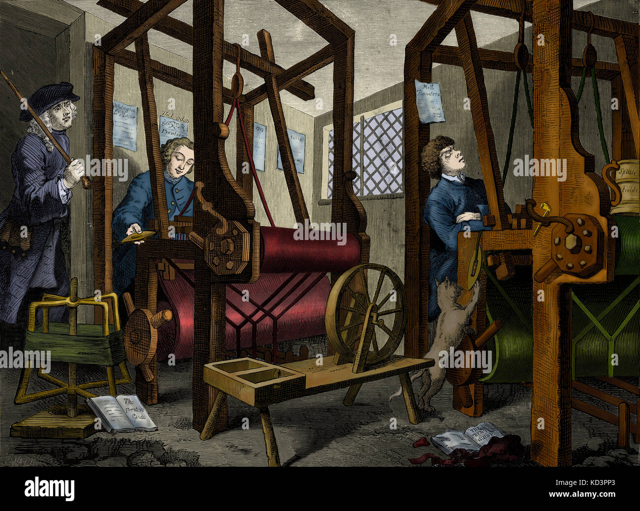 The Apprentices - engraving by William Hogarth, English painter and artist. Weaving at Spitalfields. 10 November - Stock Image