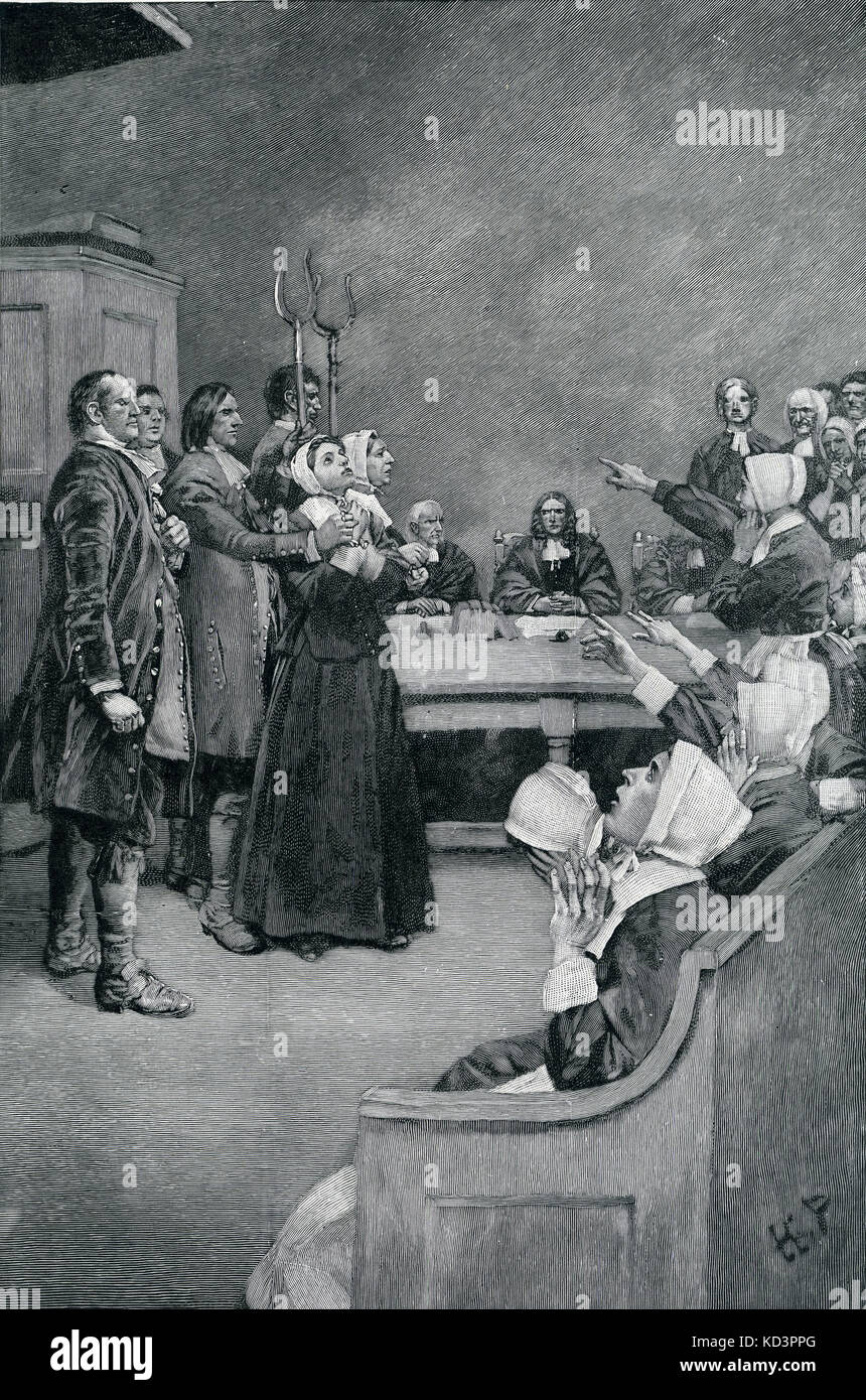 The trial of two  witches 1692 in Salem. Illustration by Howard Pyle. . (engraving 1892).   (The Salem witch trials - Stock Image