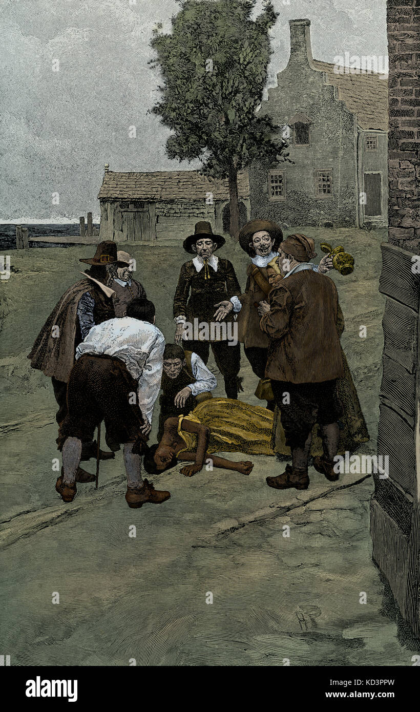 After the first  auction sale of slaves at New Amsterdam in 1655, a female slave sold at auction  collapses on the - Stock Image