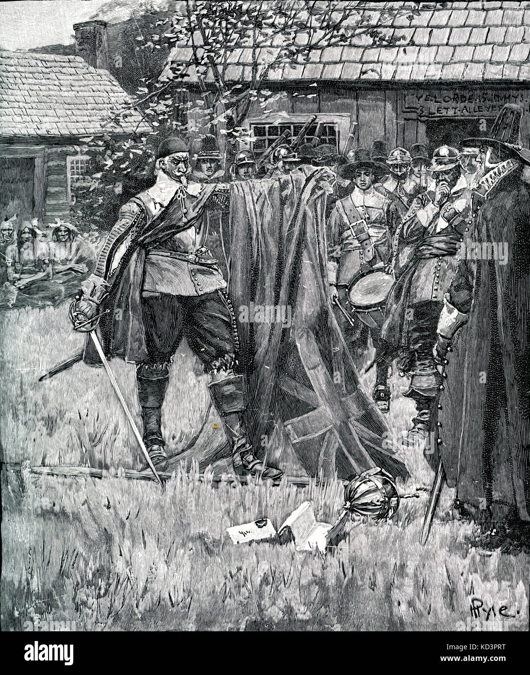 John Endecott, governor of Massachusetts Bay Colony, defacing the English flag because he saw the St George's - Stock Image