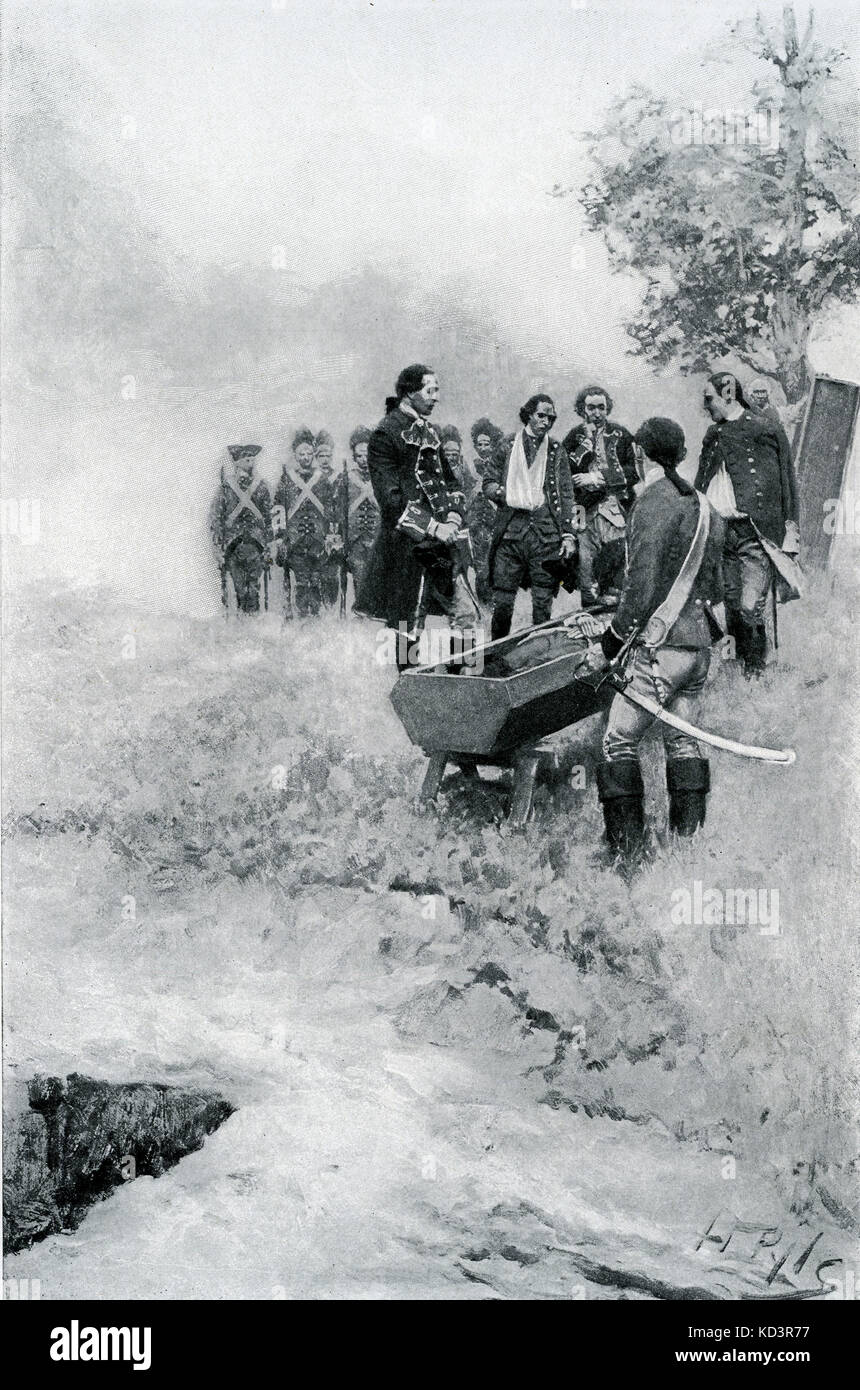 Burial of General Edward Braddock (January 1695 – 13 July 1755) at the Great Meadows after the Battle of the Monongahela, - Stock Image