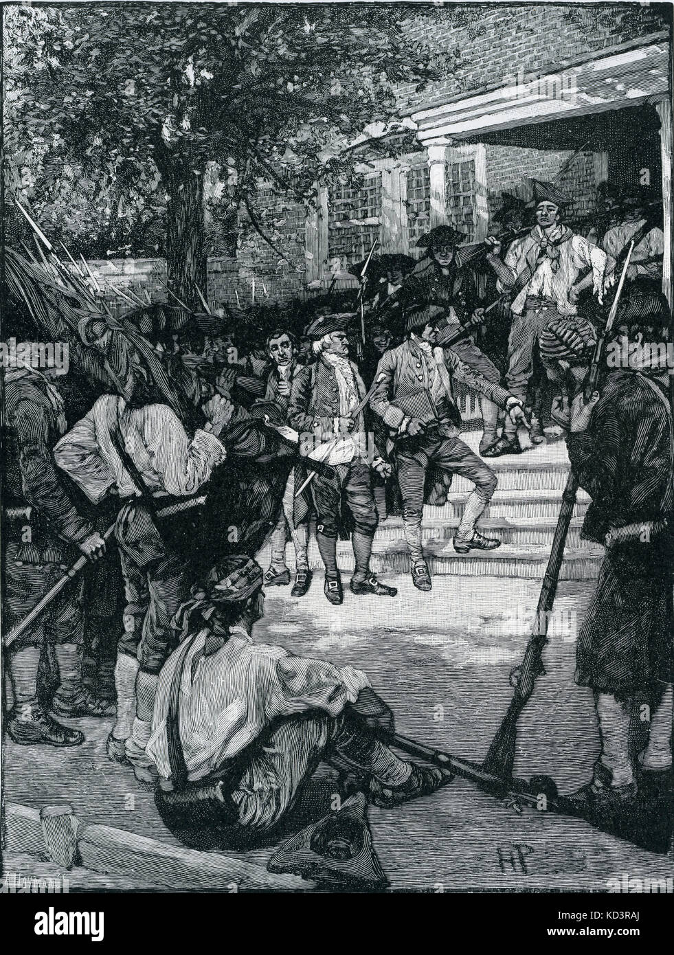 Shays' mob in possession of a courthouse. Rebellion by the people demanding paper money in Massachusetts led - Stock Image