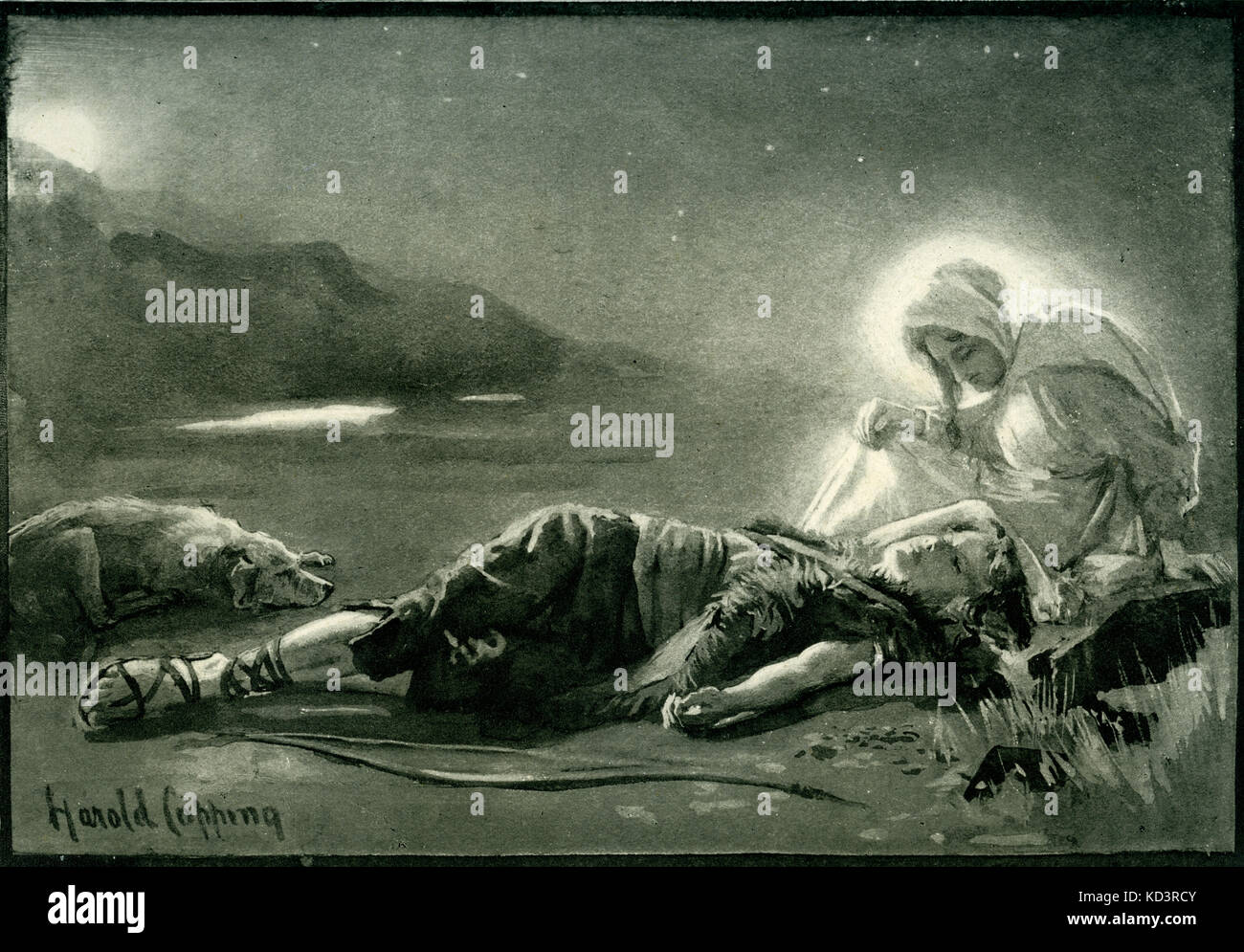 Basques - The Virgin of the Five Towns. Caption reads :' The vision approached nearer and nearer, and came and sat by the side of the sleeping huntsman and gazed upon him for a long time in silence.'  Photogravure illustration by Harold Copping. Stock Photo