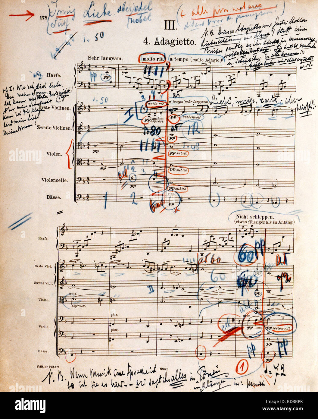 5Th Symphony printed score of mahler's 5th symphony - adagietto the first