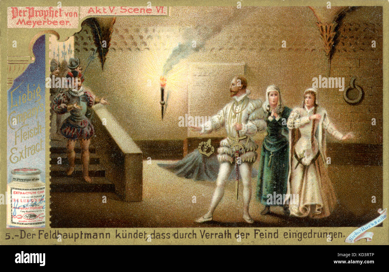 MEYERBEER's The Prophet -  Act 5 Scene 4 The Field Marshall informs the assembled company of a betrayal causing - Stock Image