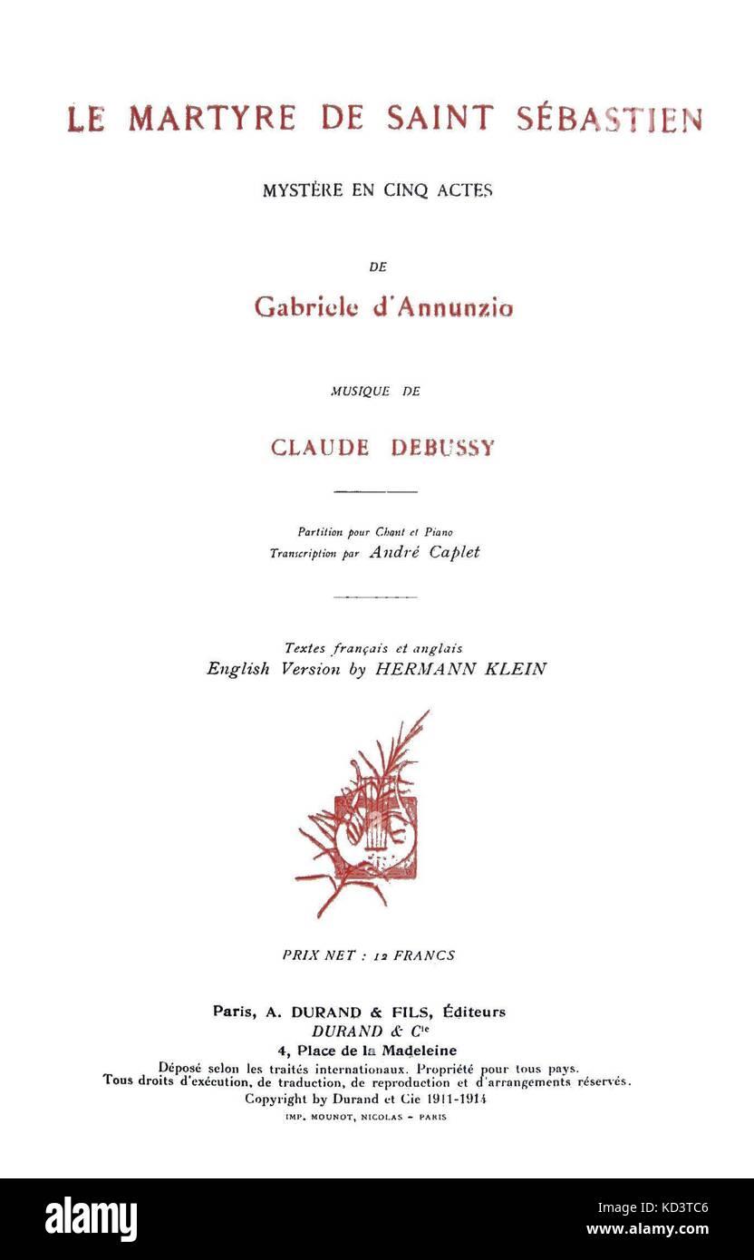 Le Martyre de Saint Sébastien by Claude Debussy - title page, 1911.  Published by Durand et Fils, Paris. CD: - Stock Image
