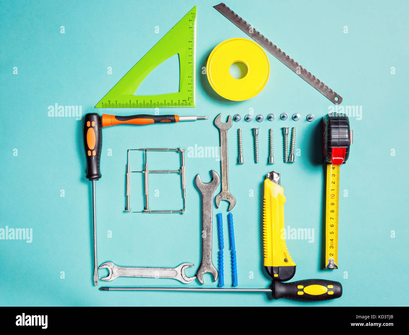 Home improvement concept. Set work hand tool for construction or repair of house - Stock Image