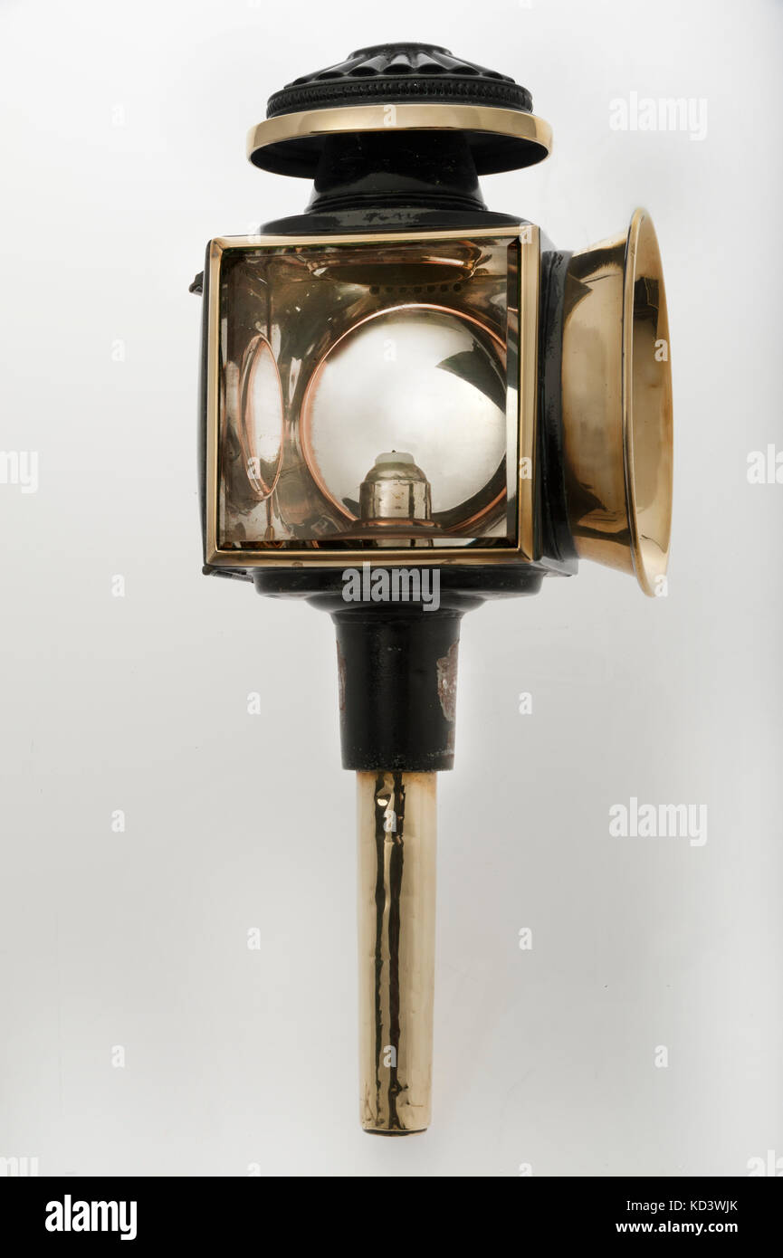 Candle powered carriage lamp 1899. Fitted on 1899 Fiat - Stock Image