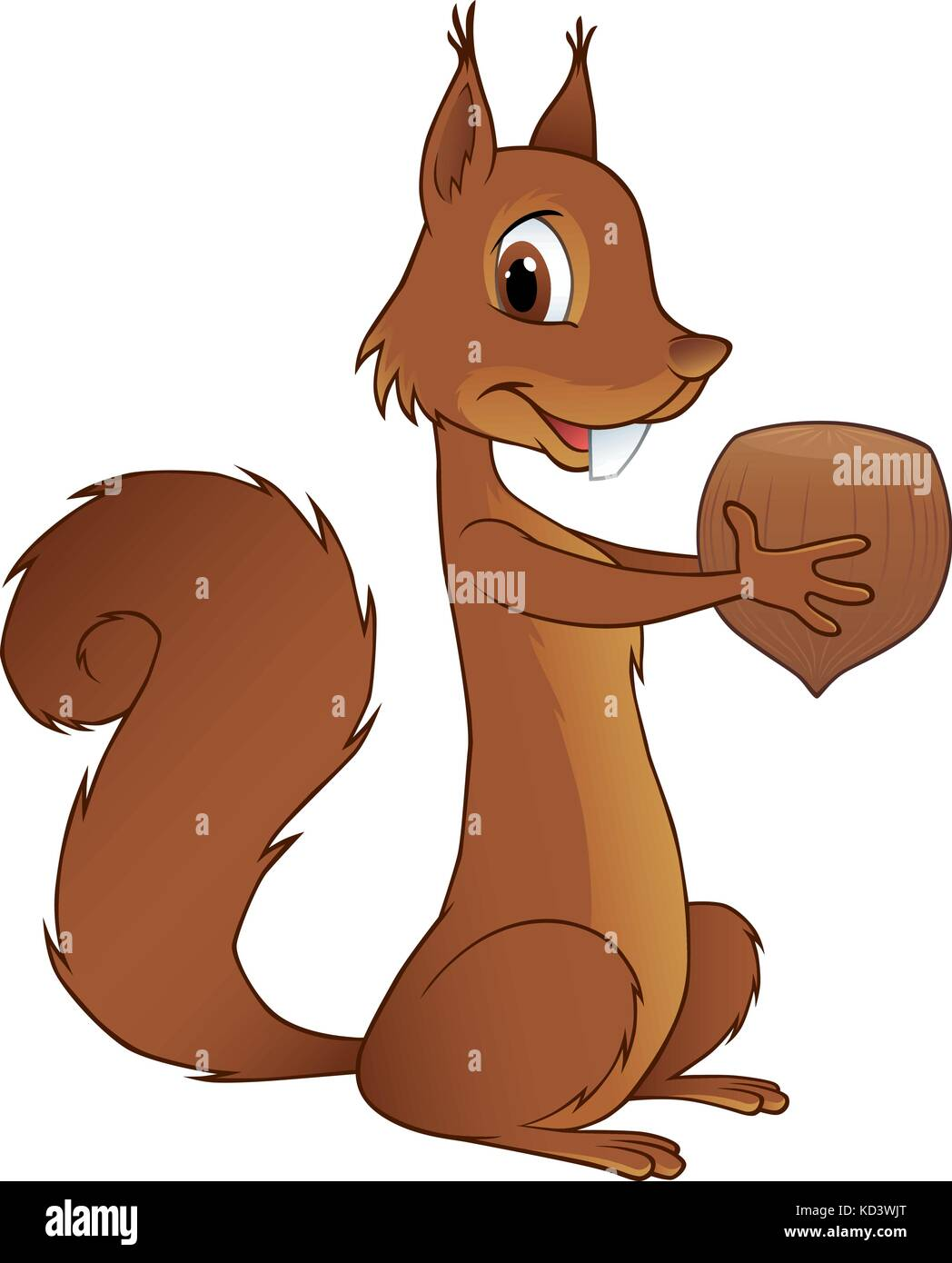 Vector illustration of the most charming squirrel holding a hazelnut in its hands - Stock Image