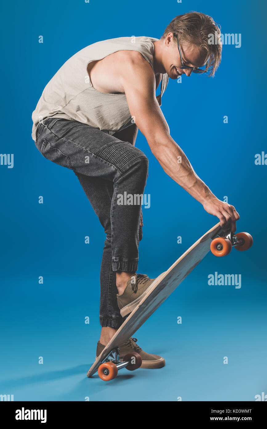 young man with skateboard Stock Photo