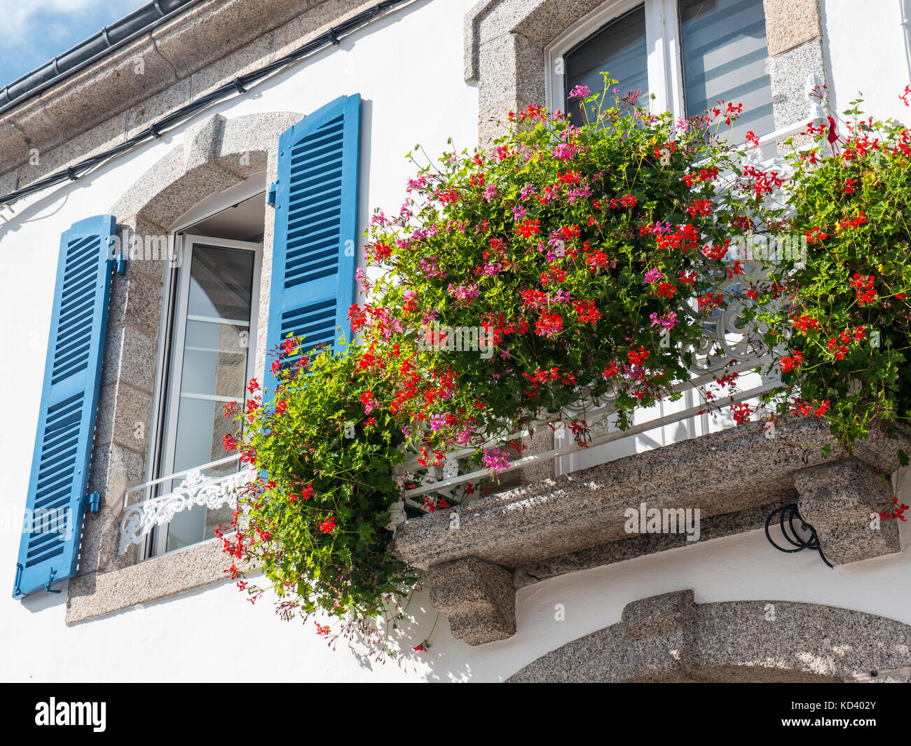 French Gite B&B with typical blue shuttered window and pelargonium floral display window box Stock Photo