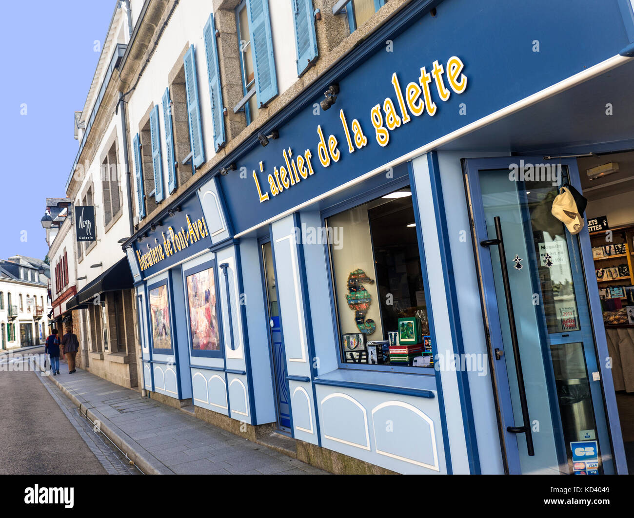 Renowned 'Biscuiterie' shop selling galettes, biscuits cakes specialities shop.Pont-Aven Brittany France - Stock Image