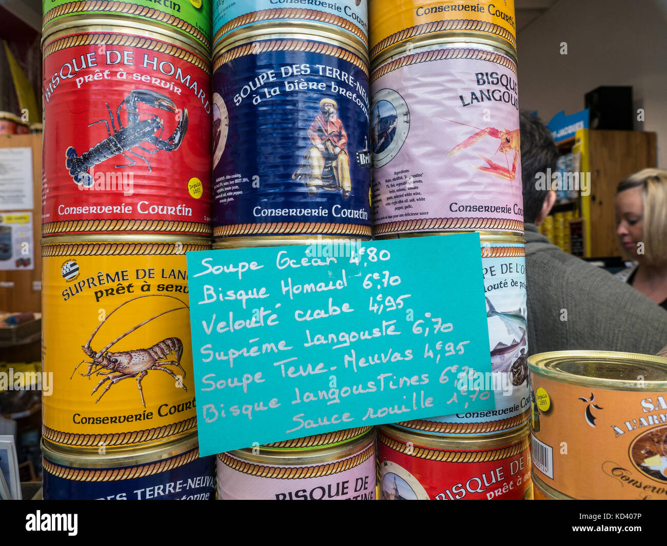 Selection of local canned French Brittany soups on display for sale at Pont-Aven Brittany France - Stock Image