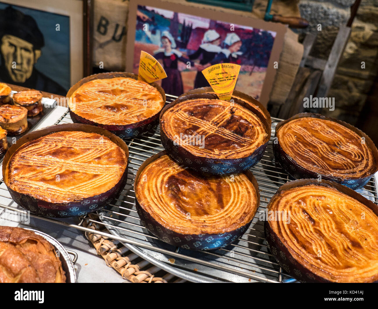 Gâteau Breton renowned local delicacy also known as Brittany butter cake produced by artisan baker Chazè - Stock Image