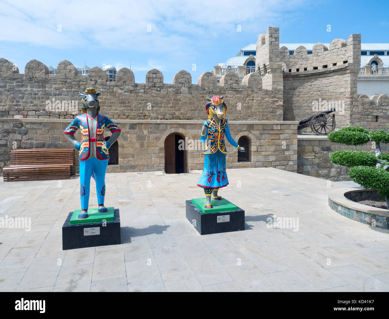 Baku, Azerbaijan - May 18, 2017 : 4th Islamic Solidarity Games mascots next to Old City walls - Stock Image