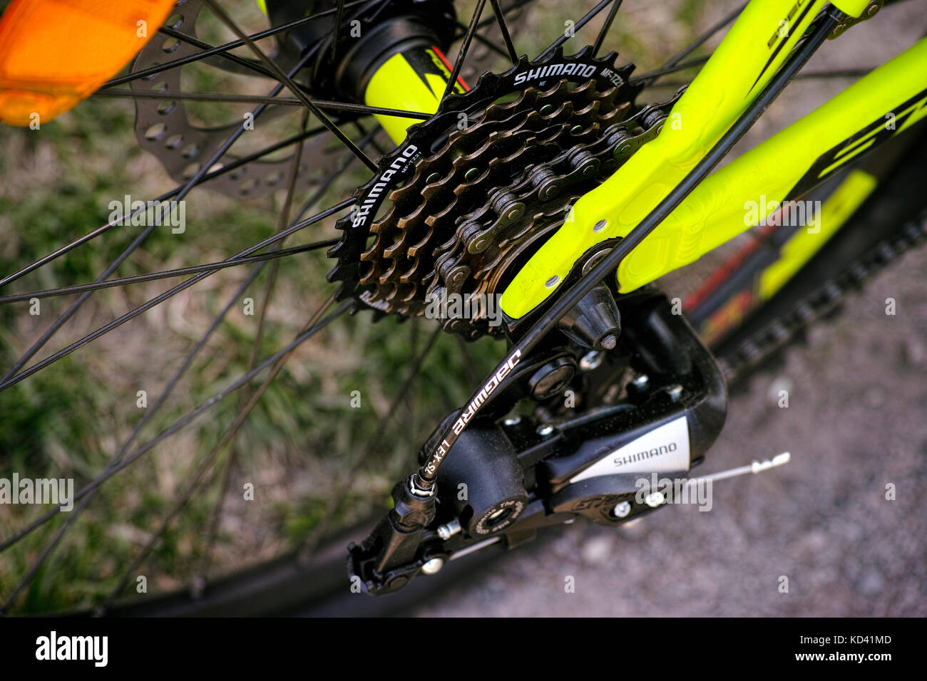 Tambov, Russian Federation - May 07, 2017 Shimano gear cassette on rear bicycle wheel. Closeup. Stock Photo