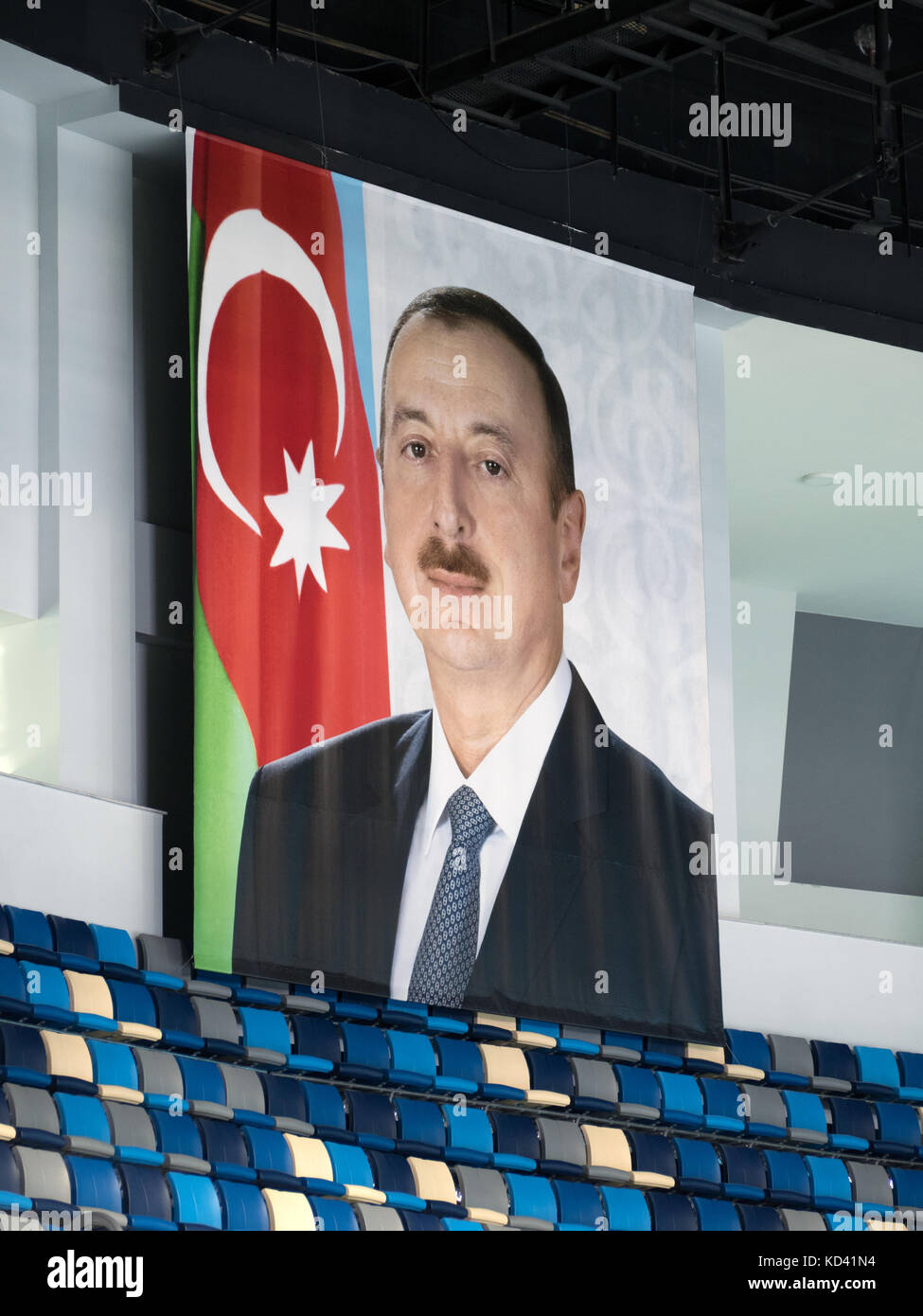 Poster of Ilham Aliyev, President of Azerbaijan, inside Heydar Aliyev Sports Arena Stock Photo