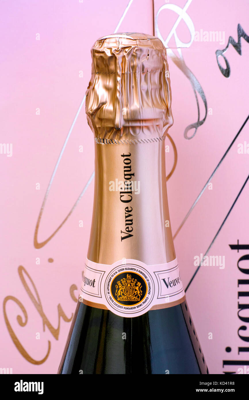 Tambov, Russian Federation - October 06, 2017 Top of Champagne Veuve Clicquot Rose Bottle against pink box. Studio - Stock Image