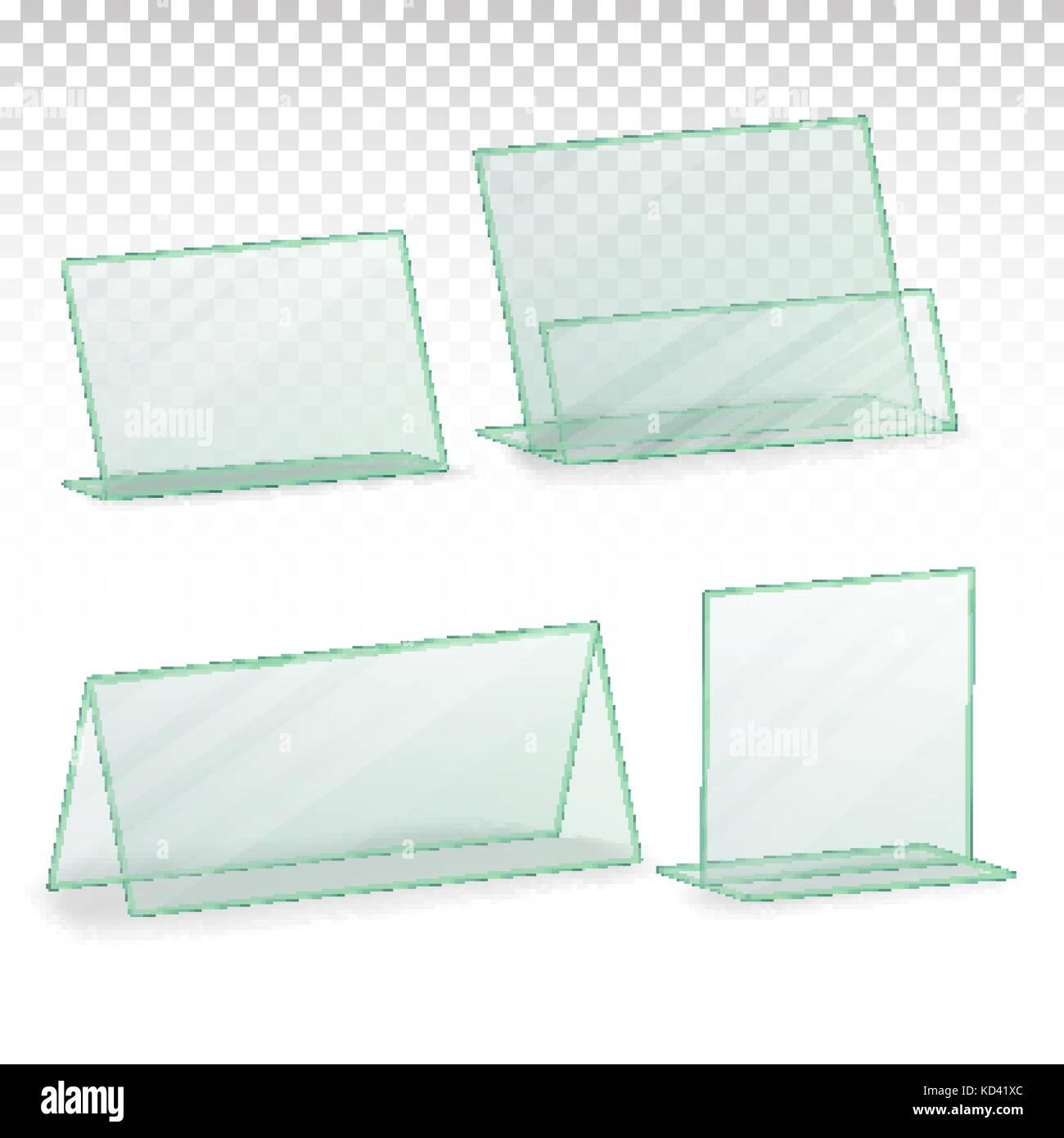 Plastic Holder Vector. Empty Plastic Table Holder For Business Card ...