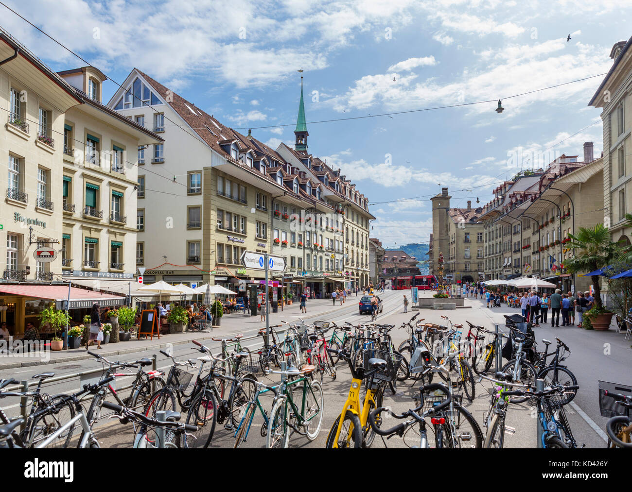 Kornhausplatz in the city centre, Bern (Berne), Switzerland - Stock Image
