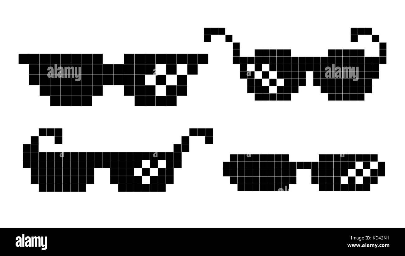 8d1d5ed5735 Pixel Glasses Vector. Black Game Glasses In 8-bit Style. Element For Meme