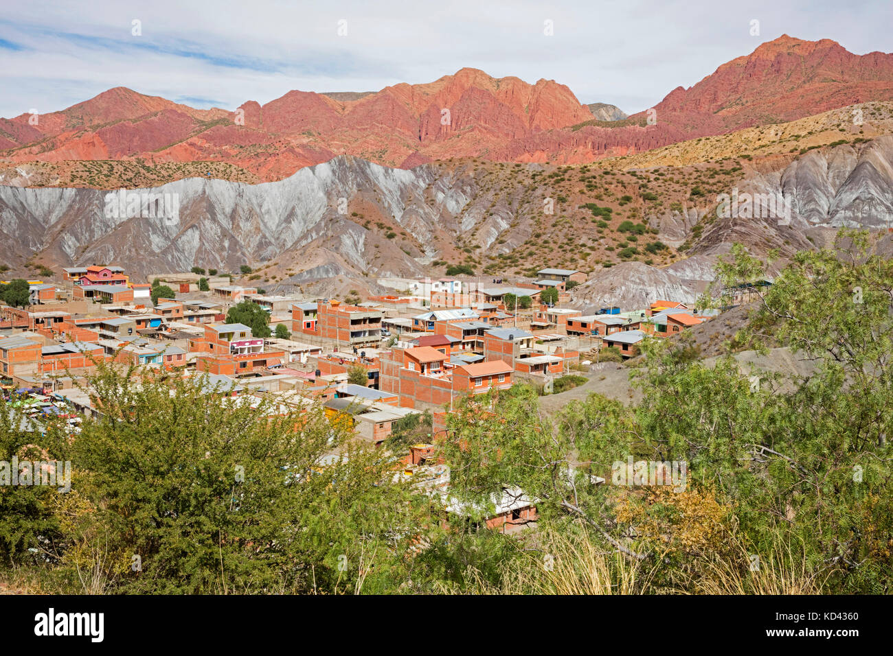 Aerial view over Tupiza, capital city of the Sud Chichas Province within the Potosí Department, Bolivia - Stock Image