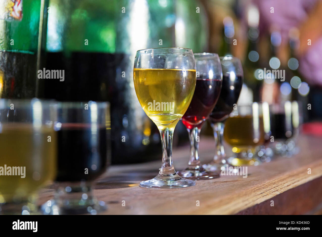 Wine tasting at the Casa Vieja in the Valle de Concepción near Tarija, capital city in the Tarija Department, - Stock Image