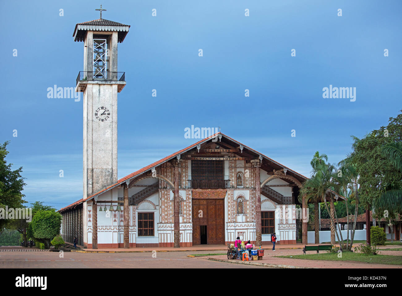 Jesuit mission church at San Ignacio de Velasco, José Miguel de Velasco Province, Santa Cruz Department, Bolivia - Stock Image