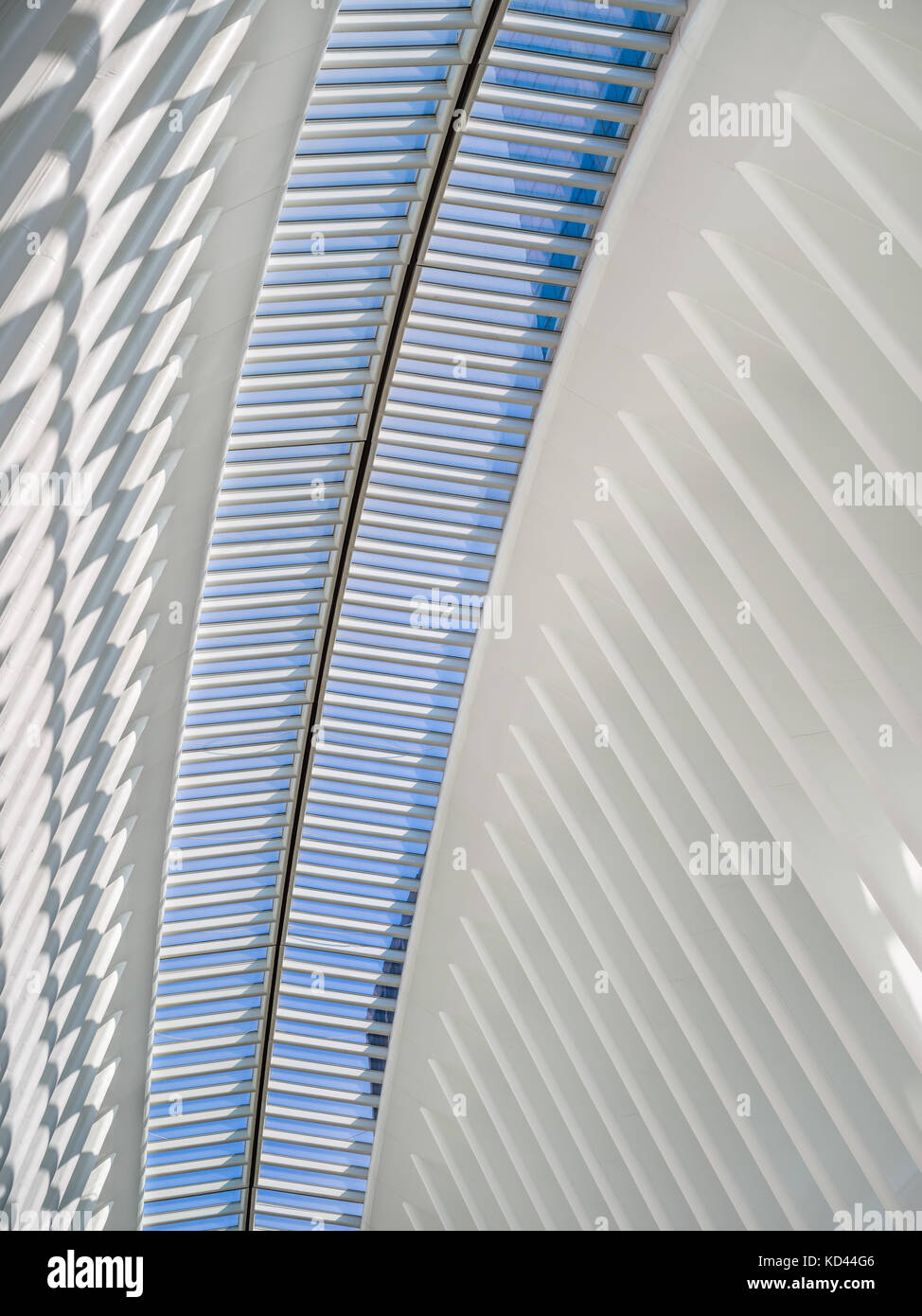 Interior view of the Oculus, Westfield World Trade Center. Tranportation hub designed by Santiago Calatrava. Manhattan - Stock Image