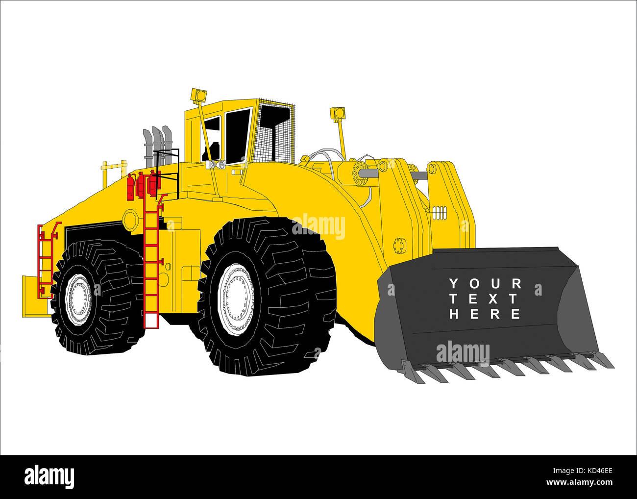 Drawn bulldozer on white background. Clip art, cartoon - Stock Image