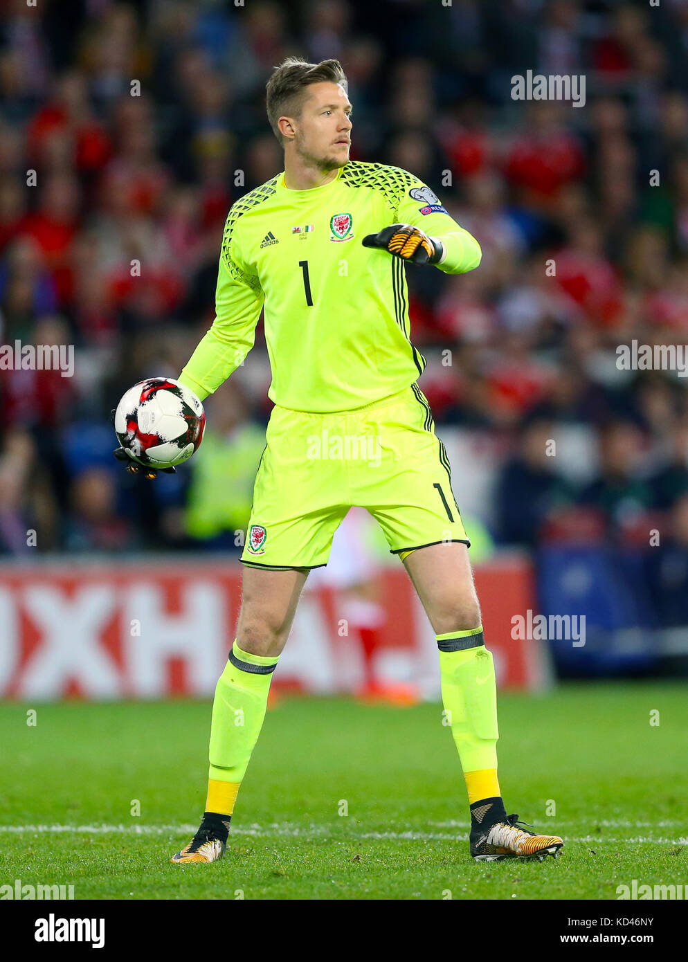 Wales' Wayne Hennessey during the 2018 FIFA World Cup Qualifying Group D match at the Cardiff City Stadium, Cardiff. Stock Photo