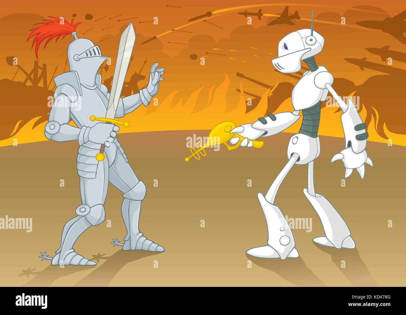 Vector illustration of a battle between the archaic and futuristic armies, showing the technological development - Stock Vector