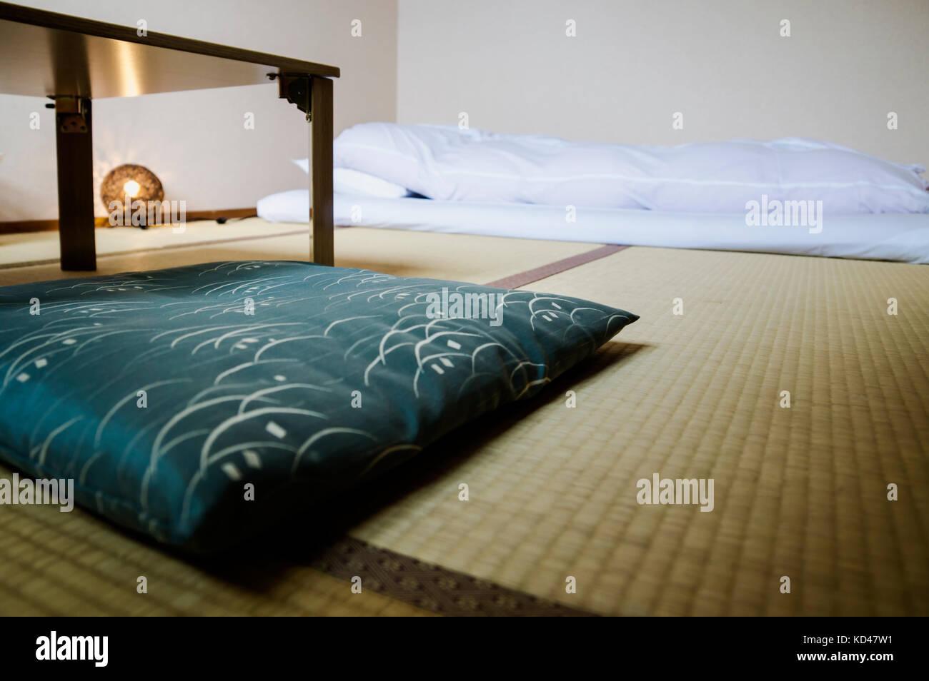 Traditional Japanese Ryokan Room With Tatimi Mats And Futon Japan