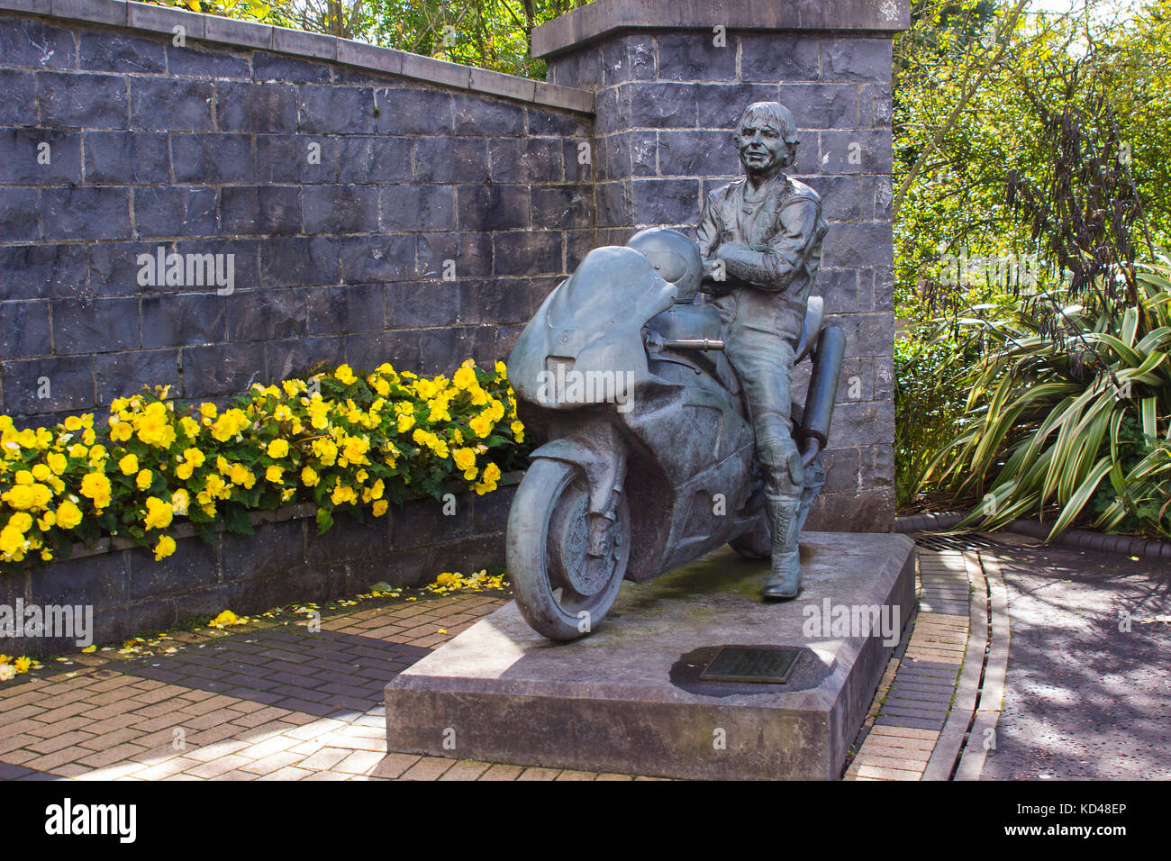 The memorial garden to the late Joey Dunlop older brother of Robert Dunlop in Ballymoney, County Antrim, Northern - Stock Image