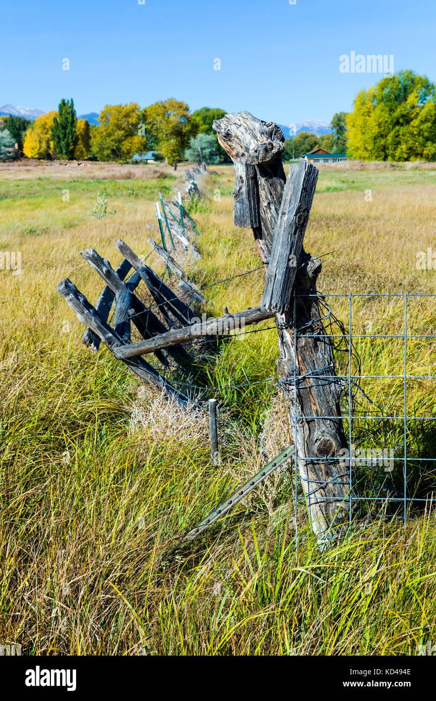Barbed wire fence; pastures; Vandaveer Ranch; Salida; Colorado; USA - Stock Image