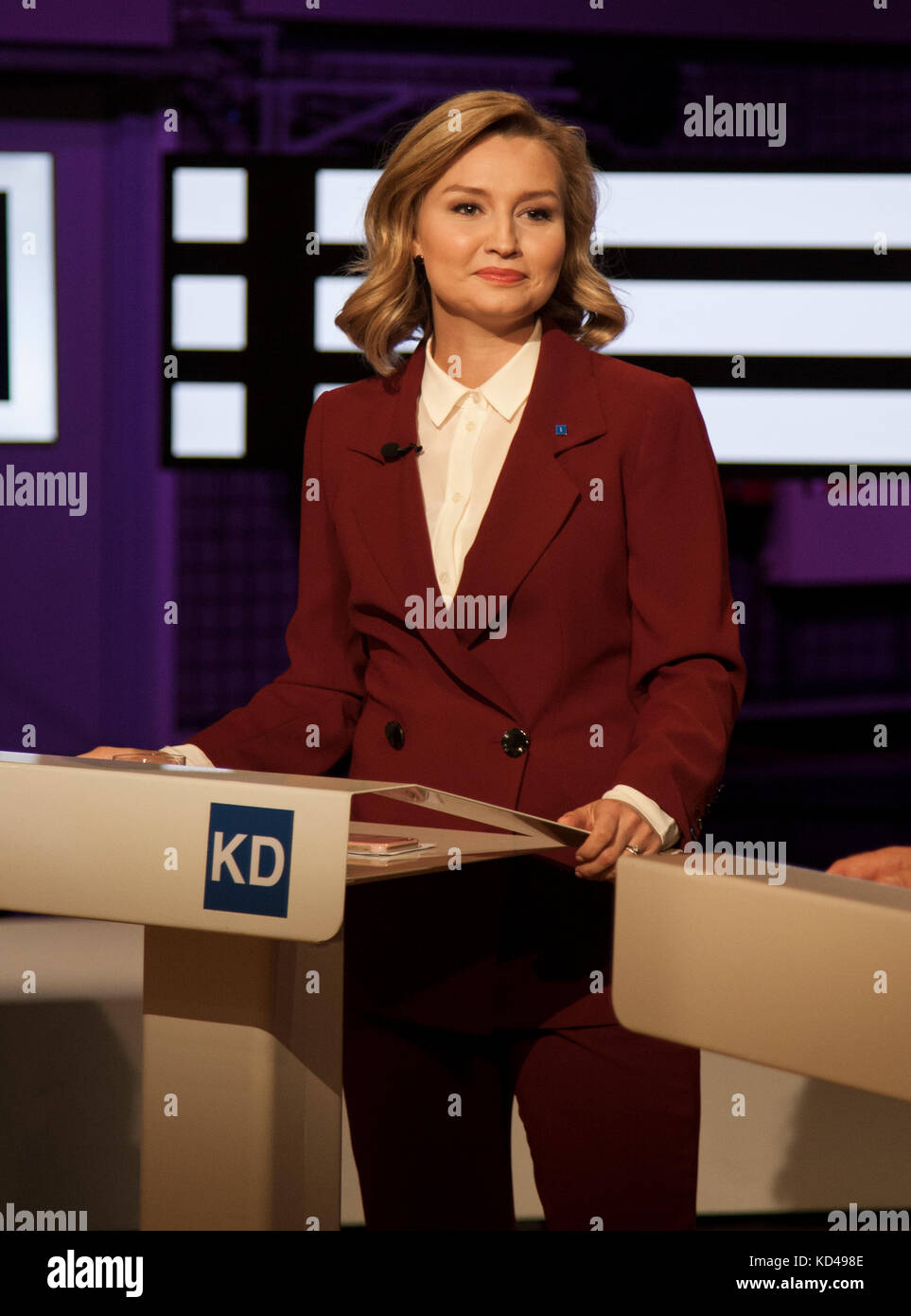The Swedish election year 2018 began with a party leadership debate in Swedish television,Cristian Democrats partyleader - Stock Image