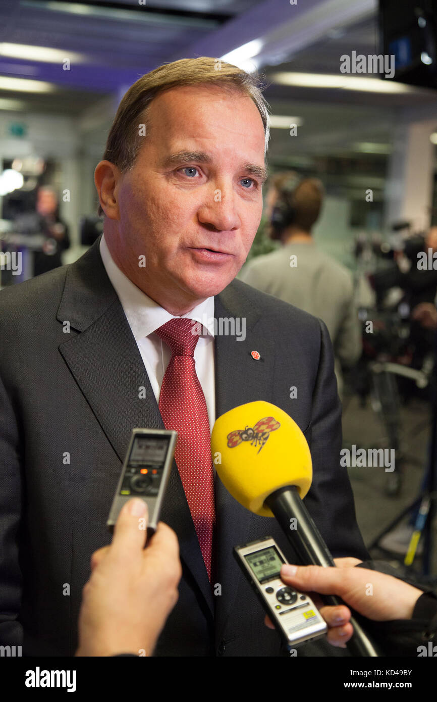 The Swedish election year 2018 began with a party leadership debate in Swedish television.Prime minister and Social - Stock Image