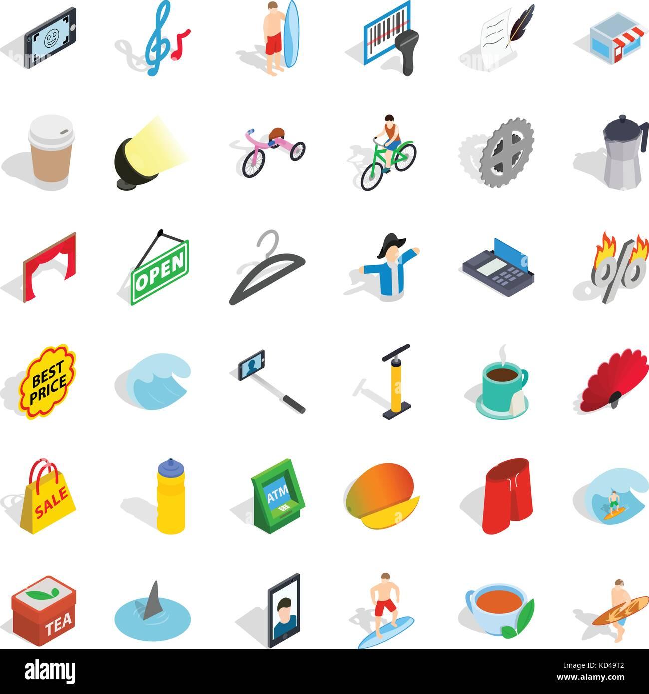 Percent icons set, isometric style - Stock Image