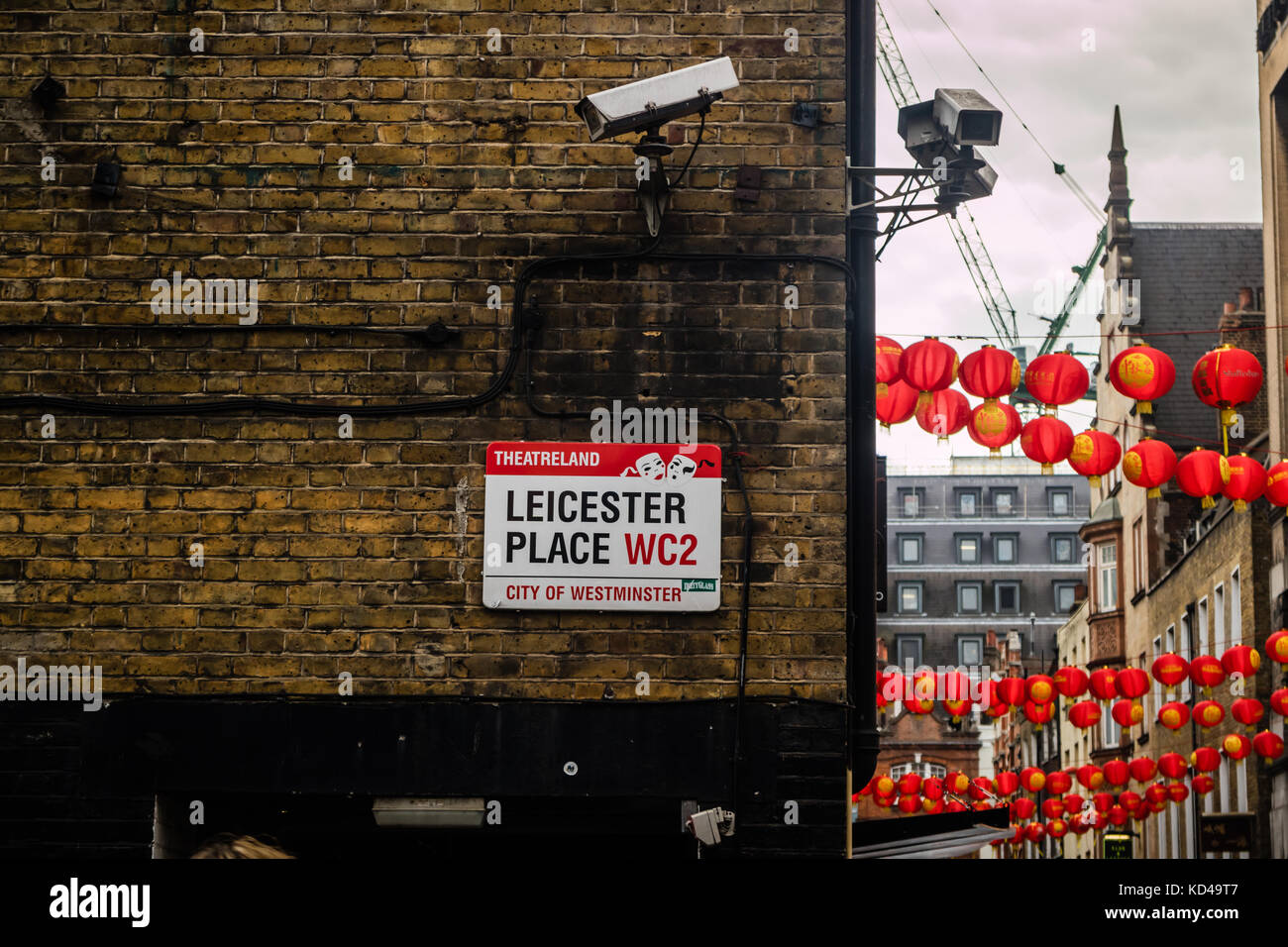 Leicester Place sign in Leicester Square, City of Westminster, London, UK - Stock Image